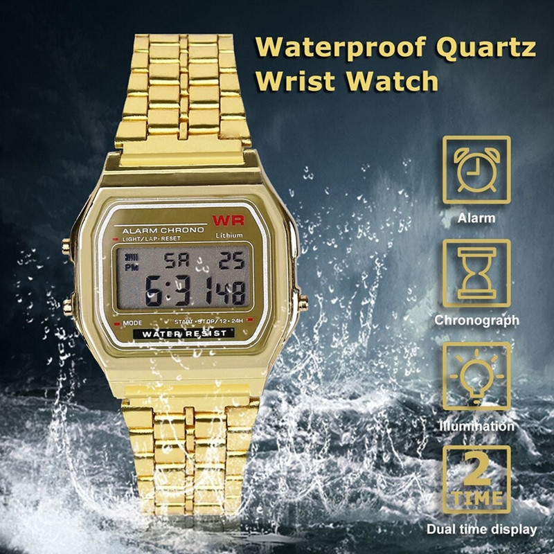 Watches Men Watch Men Fashion Waterproof Electronic Watch with Metal Watchband Watches For Men silvery 5