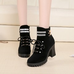 Shoes Women Boots Ladies Boots Women Shoes Ladies Short Boots Super High heel Women Martin Boots black 36