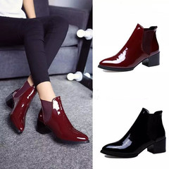 Shoes Women Shoes Ladies Boots Ladies Pointed Block Patent Leather Ankle Boots For Women black 36