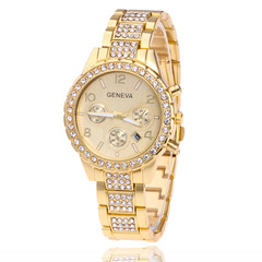 Watches Ladies Watches Women Set In Drilh Triple-Eye Steel Belt Watch Geneva Women's Quartz Watch gold