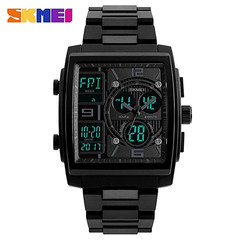 Watches Men Sports Dual Display Rectangle Shape Male Clock Electronic Luxury Digital Watch Men blue