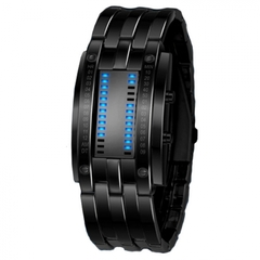 Watchees Wristwatch Men Women Steel blue Binary Luminous LED Electronic Sport Watches Smart Watch black