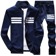 Clothes Men Long-sleeved Sports Casual Suit Baseball Jackets Suit For Men Coats blue M
