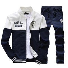 Suits Men's Two-piece(Coat + trousers) Long-sleeved Sports Suit Baseball Clothing Sweater Men White M