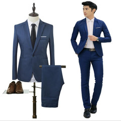 Suits Men's Suits For Men Business Slim Casual Suit Interview Two-piece Suit (Coat+Trousers) blue l