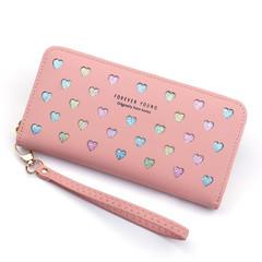 Handbags Women Lady Wallets Long Zipper Large Capacity Bag Love Color Handbags Ladies Wallets Ladies pink normal