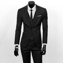Suits Men Blazers( jacket + vest + pants ) Business Three-piece Suits Male Groom Blazers Men Sets black M