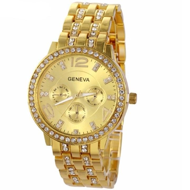Man and Women Watch Casual Three Clock Simulated Diamond Quartz Watches Lady Dress Wristwatches gold