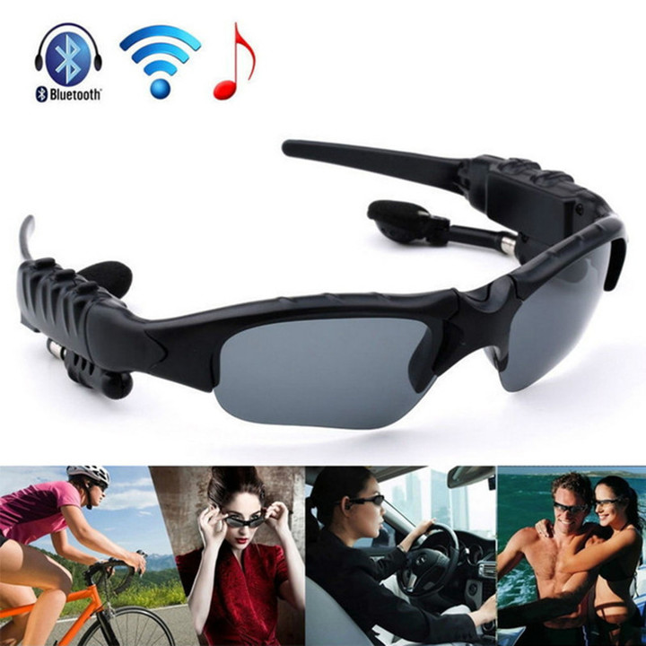 Bluetooth Sunglasses Outdoor Smart Sun Glasses Wireless Headset with Microphone for Smart Phones black