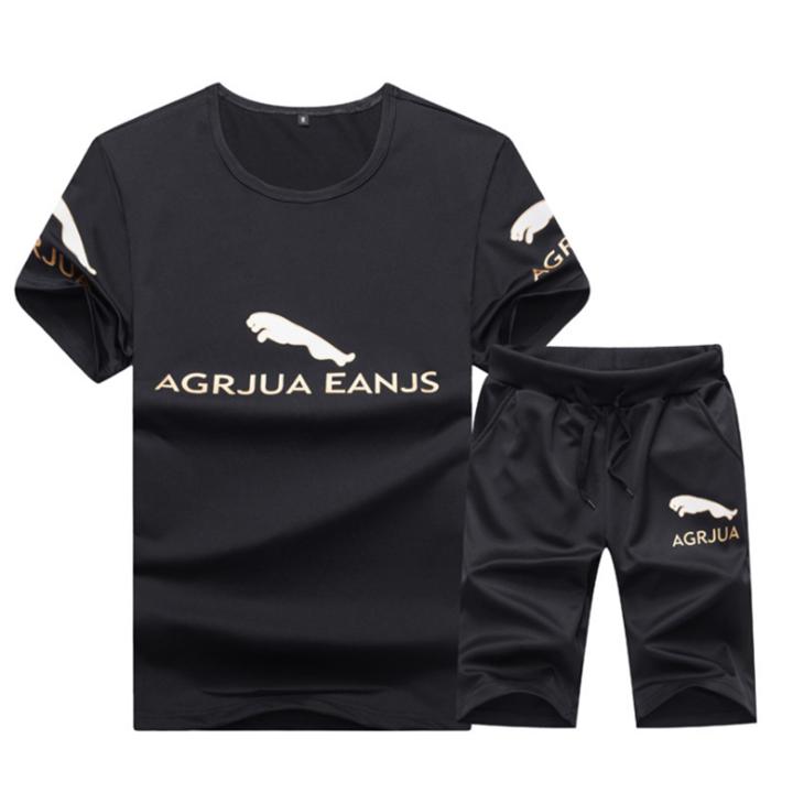 Suits Men's Sports Casual T-shirt Short Sleeve Suit (clothes + pants) Leisure Sports Suit For Men black M