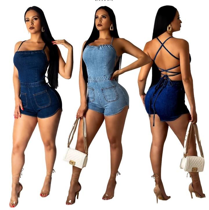 tukkuhinta verkossa myytävänä 100% aito Women's Casual Spaghetti Sling Denim Romper Jumpsuit with Pocket dark blue s
