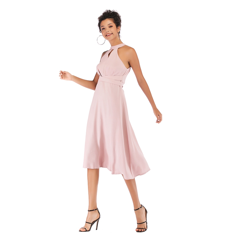 6e1511215c44 ... Dress Women Sleeveless Off Shoulder Lace Up Halter Chiffon Dresses  Party Midi Dresses Pink S: Product No: 651656. Item specifics: Seller  SKU:LF247S ...