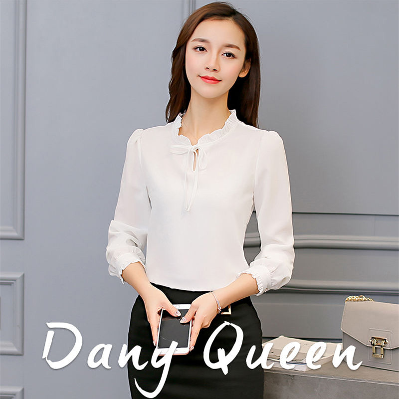 94e0e9a625c0a7 Women Chiffon Blouse Office Lady Long Sleeve Shirt Female Bodycon Shirts  Bow Tops Casual Blouses white s: Product No: 651937. Item specifics: Seller  ...