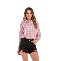 Cotton Spring Summer Women Shirts Long Sleeve Turn-down Collar Loose Plaid Office Lady Shirts Tops red s