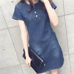 Casual Summer Denim Dress women V-neck Short Sleeve Jeans Dress Female Mini Dresses Women Clothing dark blue s