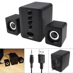 D-202 Portable USB Wired Combination Speaker Computer Bass Stereo Speakers Music Player Subwoofer Black USB D-202