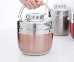 Stainless Steel Pot Double Insulated Lunch Box Lunch Boxes Rose gold Capacity: 1.2 liters