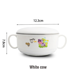 304 Stainless Steel Children's Cartoon Ears With Lid Soup Bowl Anti-Scalding Student Rice Bowles White cow 12.3*7.8cm