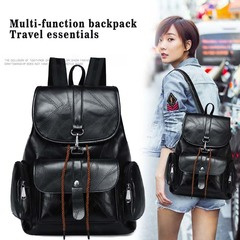 Girl College Wind Backpack Outdoor Leisure Backpack Student Backpacks Black Small