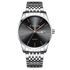 Men's Fashion Quartz Watch Simple Waterproof Calendar Watches Silver steel strap with black face