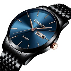 Men's Fashion Quartz Watch Simple Waterproof Calendar Watches Black steel strap with blue face
