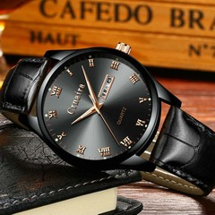 Men's Fashion Trend Luminous Watch Quartz Waterproof Calendar Watches black leather strap with black face