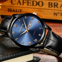 Men's Fashion Trend Luminous Watch Quartz Waterproof Calendar Watches black leather strap with blue face