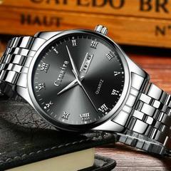 Men's Fashion Trend Luminous Watch Quartz Waterproof Calendar Watches Silver steel strap with black surface