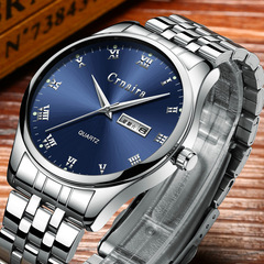 Men's Fashion Trend Luminous Watch Quartz Waterproof Calendar Watches silver steel strap blue surface