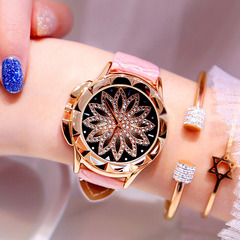 Girl Fashion  Waterproof Watch Leather Student Watches pink