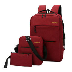 Men and Women Fashion Business Casual USB Backpack Messenger Bag Wallet Three-piece Notebook Bags red 28.0 cm * 15.0 cm * 45.0 cm
