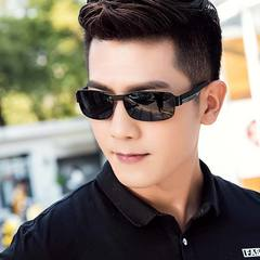 Men's Fashion Accessories  Color Changing Polarized Sunglass Day and Night Classic Square Sunglasses Black frame black gray polarizer one size