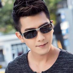 Men's Fashion Accessories  Color Changing Polarized Sunglass Day and Night Classic Square Sunglasses Silver frame black gray polarizer one size