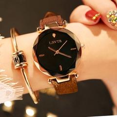 Women's Fashion Rhinestone Watch Student Quartz Leather Strap Waterproof Watches Coffee bean with black noodles