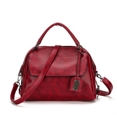 Women's fashion handbag big bag Boston pillow bag oil wax shoulder bag Messenger bag red 27*23*13cm