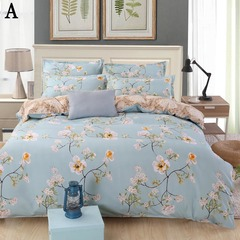 4pcs Home Bedding Set (Duvet cover+Sheets+2Pillowcases)Cartoon Floral Adult Children's 3Pcs Bedding A 1.2 meters (4 feet) three-piece