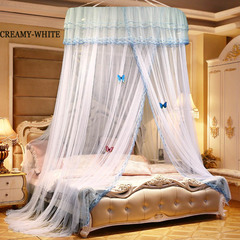 Household new round mosquito net elegant European court lace mosquito net wedding bedding Creamy-white 1.2m diameter