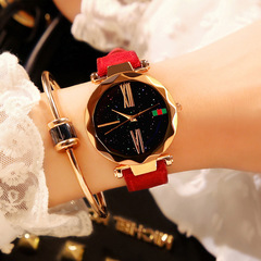 Woman Fashion Watch Girl Quartz Leather Strap Waterproof Student Watches red