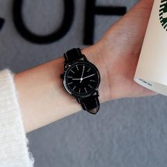 Girls Fashion Watch Simple Small fresh Quartz Watch Men's Watch Couple Watches black belt black face