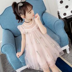 Foreign girl dress 2019 big children's mesh children's skirt children's dress princess dress pink 110cm