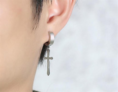 New Products European and American Hot Jewelry Cross Earrings Ear Cave silver one size