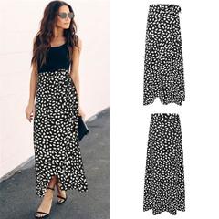 Women's Polka Dot Printed Split Skirt Skirt Elegant Slim Fit Temperament Casual Commuter black s
