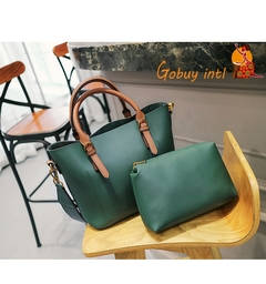 【Gobuy】Hot sales! Luxury women 2pcs handbag and shoulder bag set, office and causal big bag green as picture