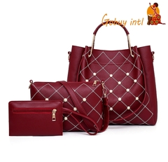 Hot sales! Gobuyintl 3pcs women handbag set, buy one get two free, big shoulderbag wallet set red as picture