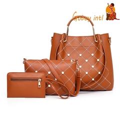 Hot sales! Gobuyintl 3pcs women handbag set, buy one get two free, big shoulderbag wallet set brown as picture