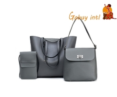 Gobuyintl Luxury leather women 3pcs bags, buy one get two free! Special Offer! gray as picture