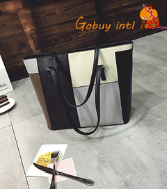 【Gobuy】Pinky Hard leather Lady Handbag, Big Capacity shoulder bag gray as picture