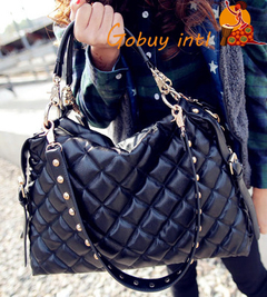 【Gobuy】 Unique Design fashion big women shoulderbags and ladies big soft leather handbags, black as picture