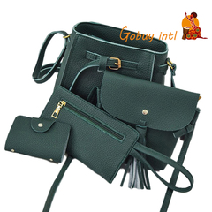 Gobuyintl Shoulder Bag Women Four Set Fashion Handbag Bags Tote Bag Crossbody Wallet Bolsas Feminina green as picture