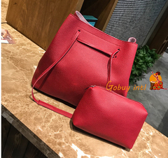 【Gobuy】Buy one get one free 2pcs Women Soft leather big handbag, Lady big shoulder bag red as picture